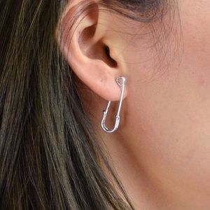New Silver Safety Pin Earrings